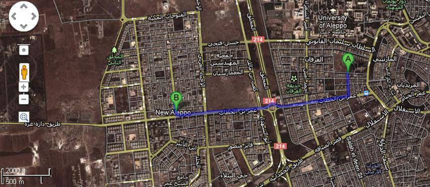 A es donde tuvo lugar la explosión del domingo. B es Nuevo Aleppo.